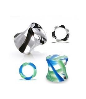 -Flot spiralplug i klar akryl med farvede striber