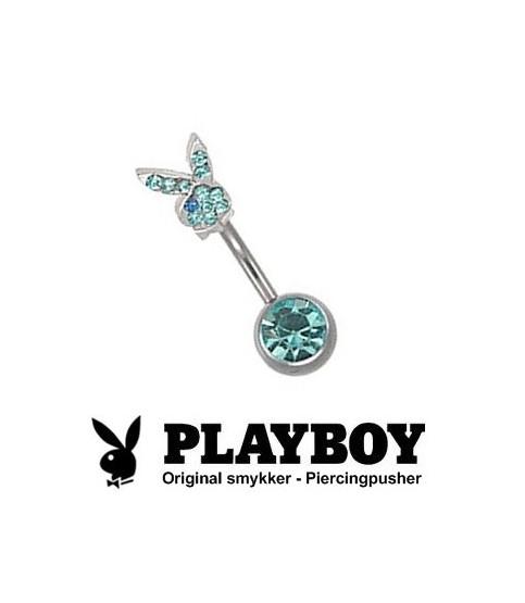 Playboy™ Navlepiercing - Med bunny topkugle i aquamarin.