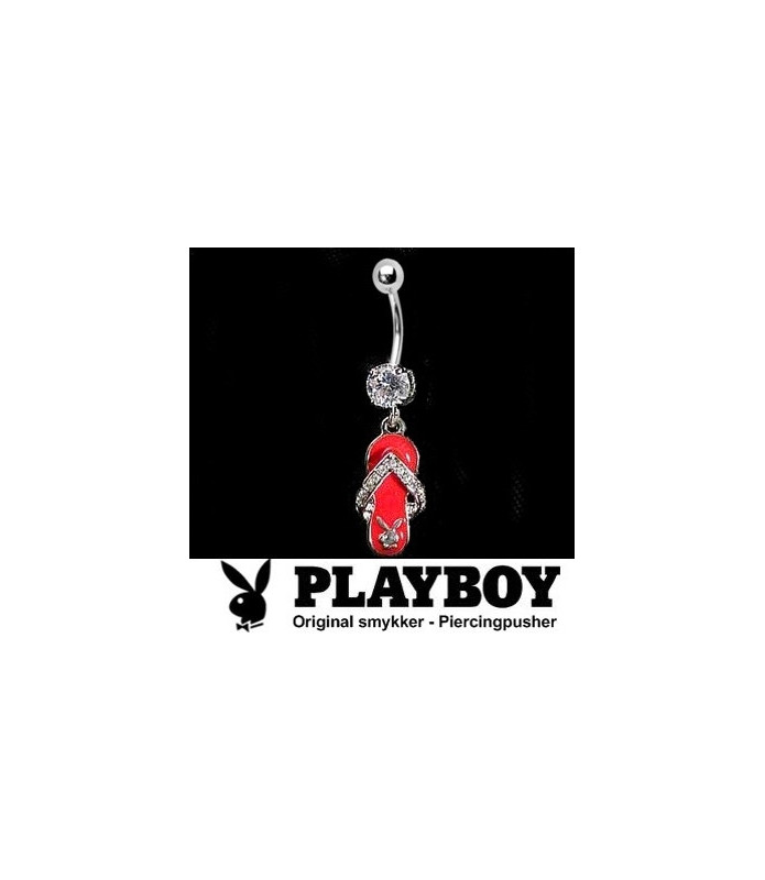 Playboy™ navlepiercing med lækker rød party-sandal