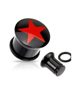 Flot blank akryl plug med rød stjerne logo