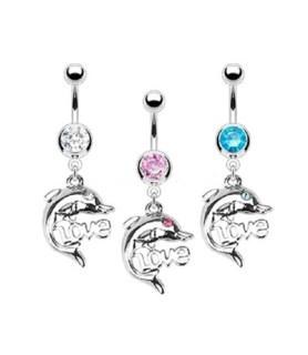 "Smuk navlepiercing med Delfin og ""LOVE"" Logo"