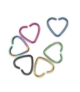 Fake helix piercing, hjerte i flotte farver.