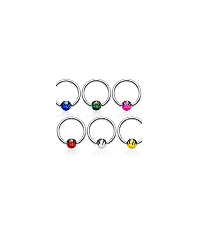 Captive bead piercing-ring med flammer