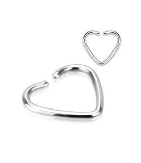 Fake helix piercing, hjerte i rent kirurgisk stål.