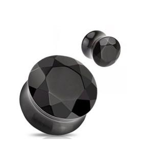 Stretch plug i flot sort krystal