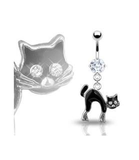Navlepiercingsmykke med sort kat som vedhæng