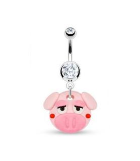 Navlepiercingsmykke med sød lille glad gris