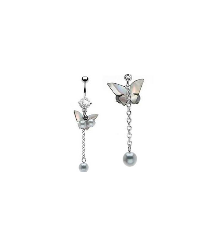 Rigtig smuk sommerfugl med tre perler til din navlepiercing