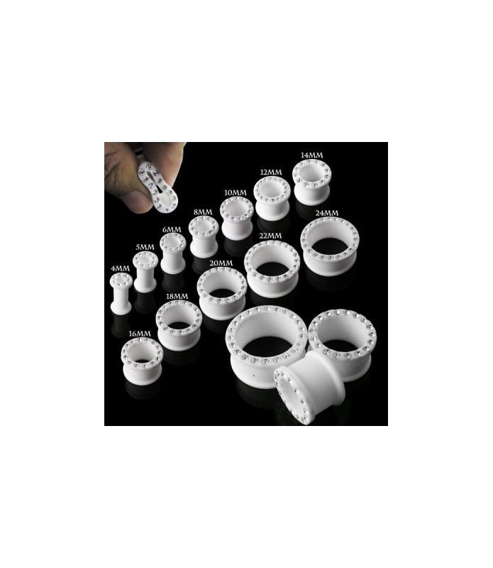 Blød hvid silikone stretch tunnel med smykkesten