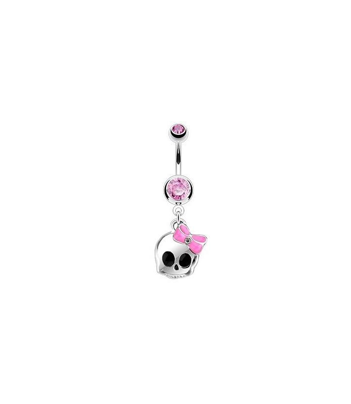 Mini dødning med pink sløjfe - til  navlepiercinger