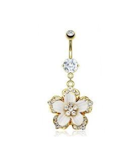 Superflot guldbelagt navlepiercing - Orkidè med krystaller