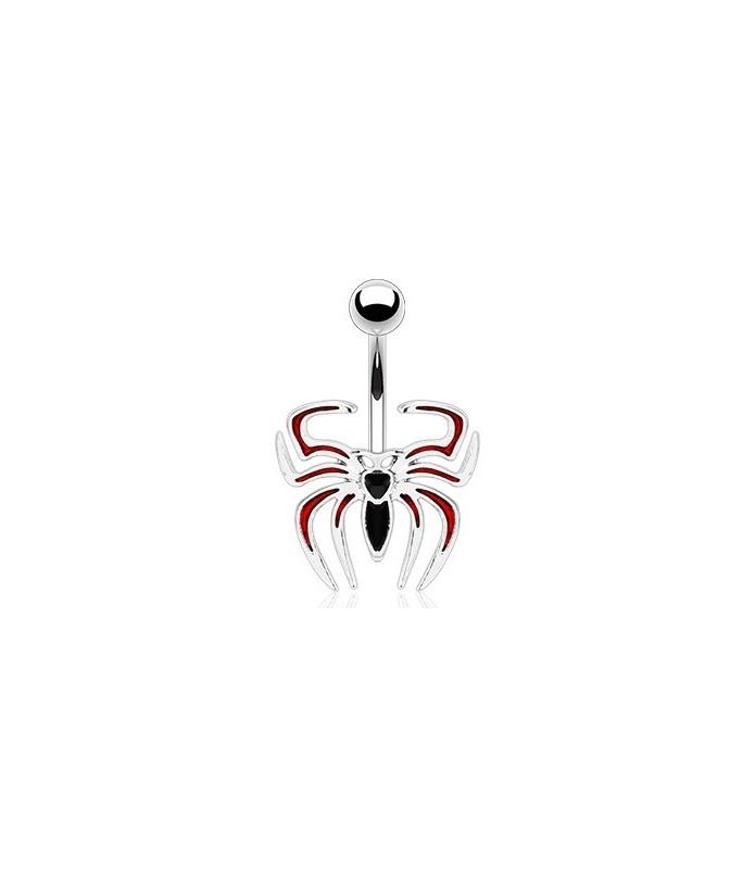 Navlepiercinger med sort/rød tribal edderkop