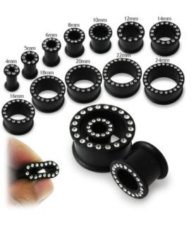 Flot sort silikone stretch tunnel med klare smykkesten