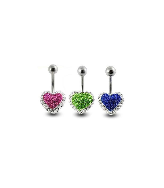 Swarowski navlepiercinger med duo-farvet hjerte