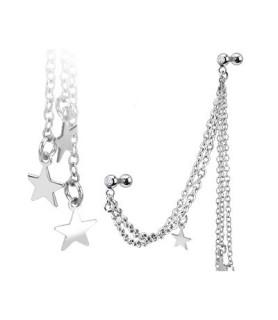 Tragus/helix smykke med kæder og stjerner