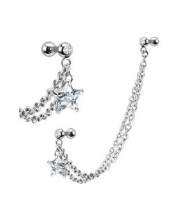 Tragus/helix smykke med flot stjerneformet juvel