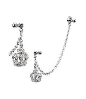 Tragus/helix smykke med flot kongekrone og skull