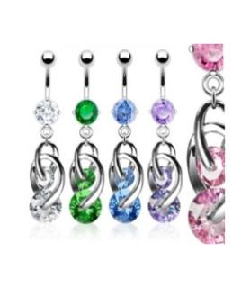 Smukt designede navlepiercingsmykker i 5 flotte krystalfarver
