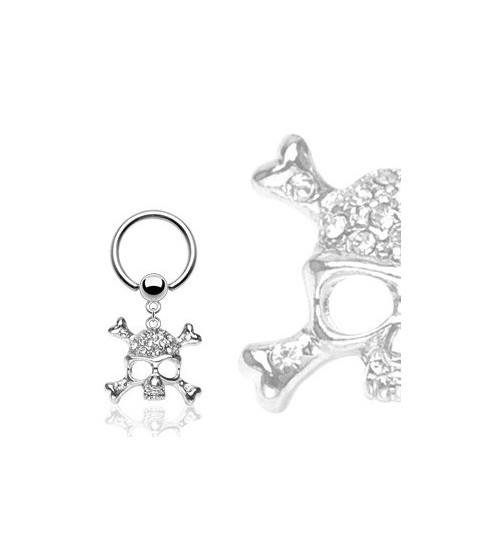 Captive bead ring med skull vedhæng