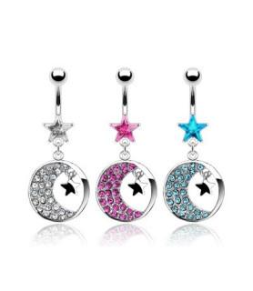 Smuk Stjerne med Zirconiabesat måne til din navlepiercing