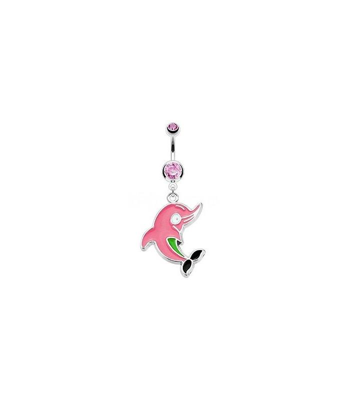 Navlepiercing med sød pink delfin vedhæng
