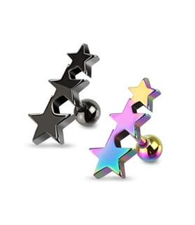 Titaniumbelagte stjerner - Tragus ell. helix piercingsmykke
