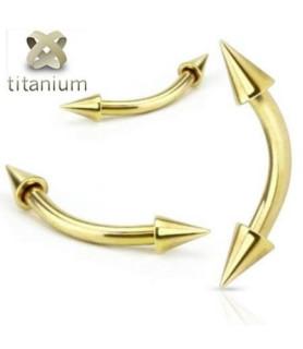 Zirkon guld belagte øjenbrynspiercing smykker med cones