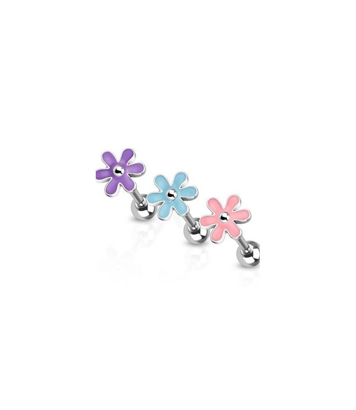 Søde blomster i tre farver til din tungepiercing