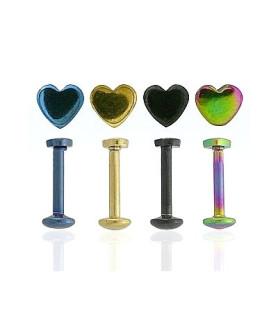-Anodiseret Labrets i fire forskellige farver med hjerteformet top