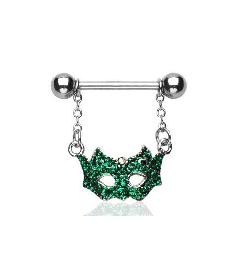Flot funklende grøn maskerade til din brystpiercing