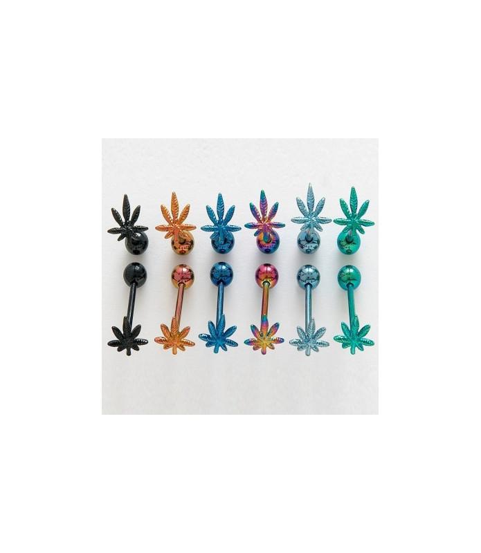 Tungepiercinger med 3D cannabis med flotte titanium-belægninger