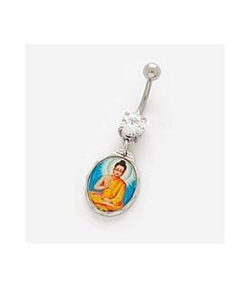 Navlepiercing med Thai-Buddha i orange og blå farver
