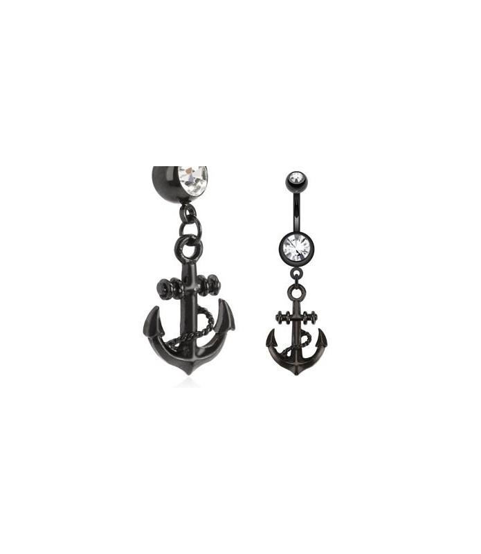 Sort lakeret skibsanker med klar Zirconia til din Navlepiercing