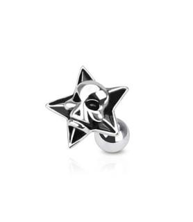 Stjerne tragus / helix smykke med Skull design