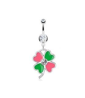 Firkløver i grøn og pink farve til din navlepiercing