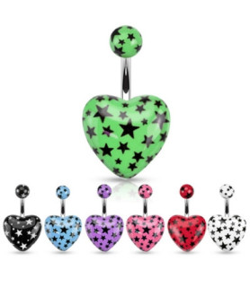 -Akryl hjerte i utallige flotte farver til din Navlepiercing