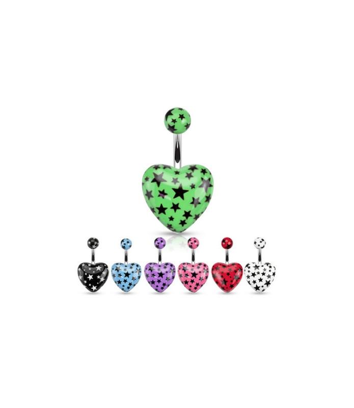 Akryl hjerte i utallige flotte farver til din Navlepiercing