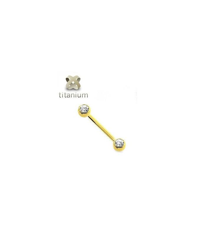 Titanium Brystpiercingsmykke belagt med Zirkon-Guld