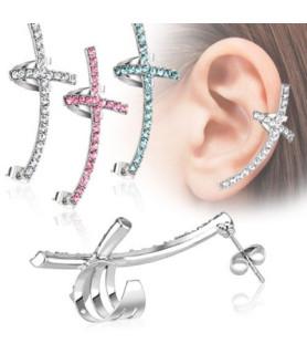 Flot funklende øresmykke i tre Zirconiafarver, designet som kors