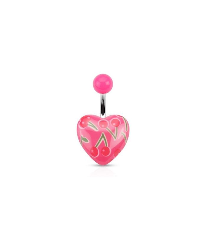 Pink navlepiercingsmykke med akryl hjerte og Cherry print