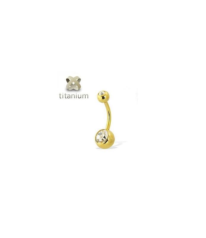 Navlepiercingsmykke i flot Zirkon-Guld / stavlængde 8-10-12mm