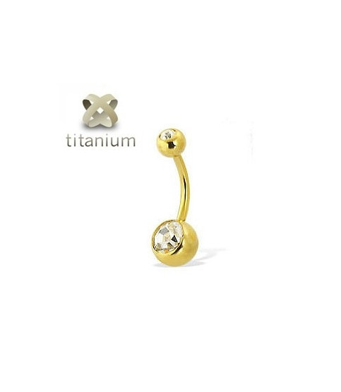 Navlepiercingsmykke i flot Zirkon-Guld / stavlængde 6 - 8- 10 - 12mm