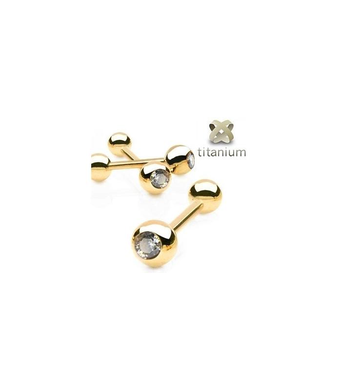 Zirkon-Guld Tungepiercing i fire forskellige længder