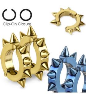 Non piercing ring med spikes til ørene i to smukke farver