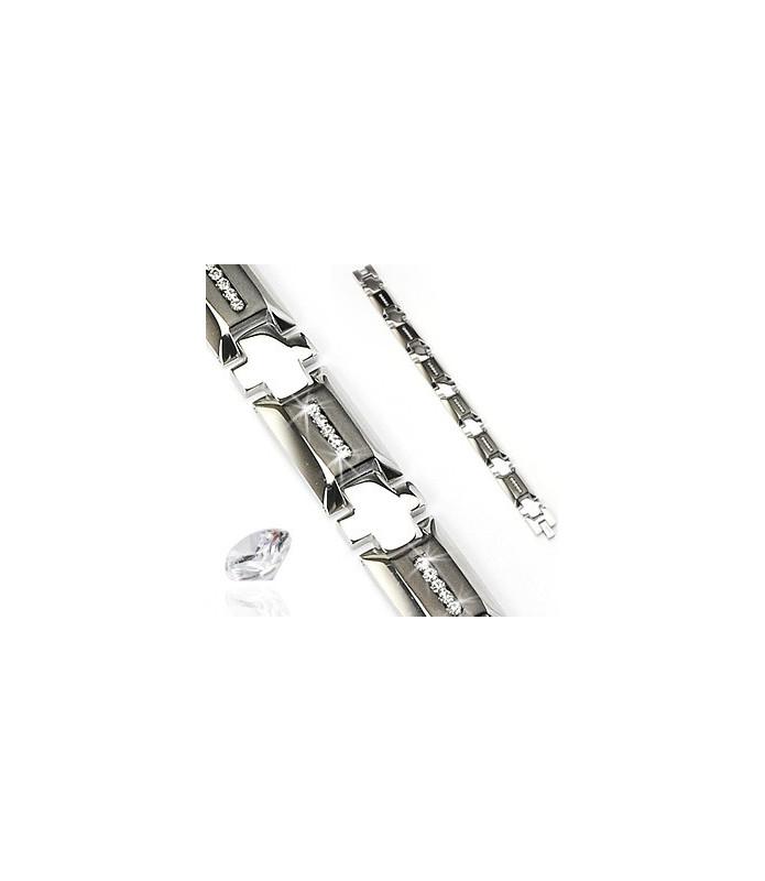 Zirciniabesat armbånd til mænd i flot Højpoleret Stainless steel