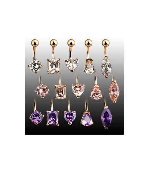 Guldbelagte navlepiercingsmykker med flotte juveler og mange designs