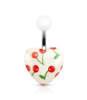 Sødt hvidt akrylhjerte med cherry print