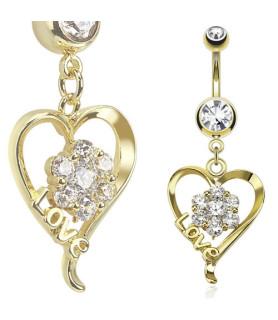Rigtigt smukt Navlesmykke med flot dekoreret hjerte