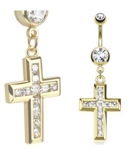 Guldbelagt Navlesmykke med Zirkonia besat kors