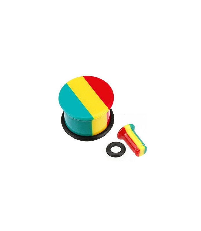 Fede Jamaican Rasta stribede plugs med O-ring